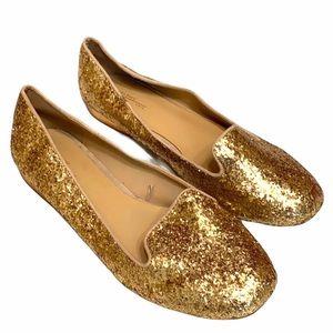 Zara gold glitter flats 39  Like New!!